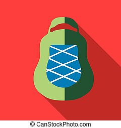 Green backpack icon, flat style