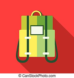 Green backpack icon in flat style