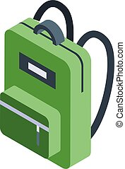 Green backpack icon, isometric style