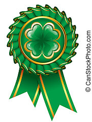 Green badge with clover to St. Patrick's Day