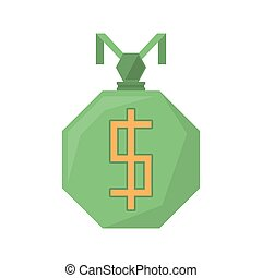 green bag money dollar geometric