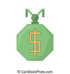 green bag money dollar geometric