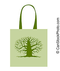 Green bag with big tree for your design