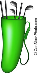 Green bag with golf clubs