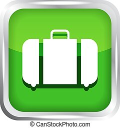 green baggage icon on a white