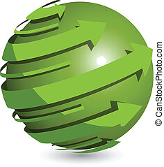 Green Ball - Abstract illustration green round arrows around...