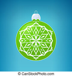 Green Ball with Snowflake , Merry Christmas - Green Ball...