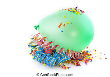 Green blown balloon and confetti for carnival or feast