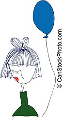 green balloon girl background illustration holding abstract cartoon blue fly white hold balloons