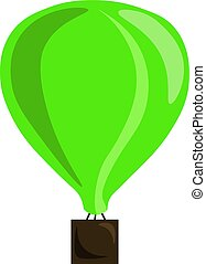 Green balloon, illustration, vector on white background.