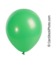 Green balloon isolated on white - Studio shot of a green...