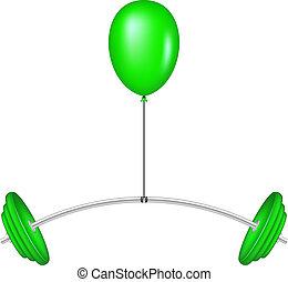 Green balloon lifting a barbell