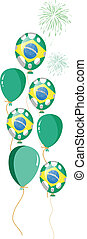 green balloon of brazilian flag with white spots