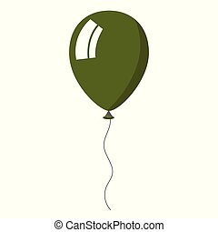 Green balloon on white background