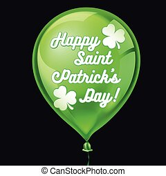 Green balloon with clover and Happy St. Patricks Day greeting. Vector illustration