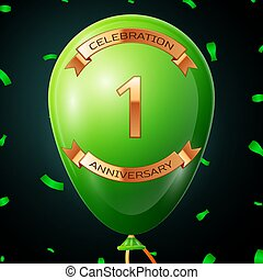 Green balloon with golden inscription one years anniversary celebration and golden ribbons, confetti on black background. Vector illustration