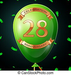 Green balloon with golden inscription twenty eight years anniversary celebration and golden ribbons, confetti on black background. Vector illustration