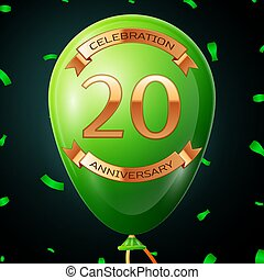 Green balloon with golden inscription twenty years anniversary celebration and golden ribbons, confetti on black background. Vector illustration
