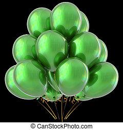 Green balloons happy birthday party decoration glossy