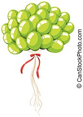 Green balloons with string