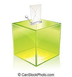 Green ballot box - Transparent green ballot box, for your...