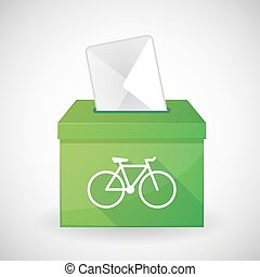 Green ballot box with a bicycle