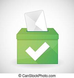 Green ballot box with a check mark