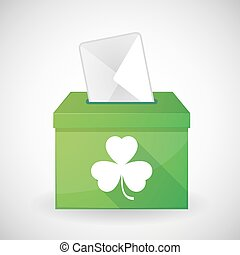 Illustration of a green ballot box with a clover