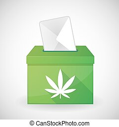 Illustration of a green ballot box with a marijuana leaf