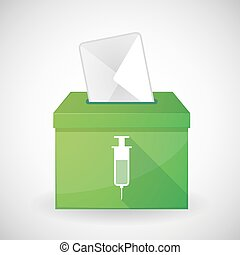 Green ballot box with a syringe