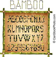 Green bamboo alphabet inside of wooden stick frame on old paper background.