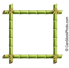 Green bamboo frame isolated on white