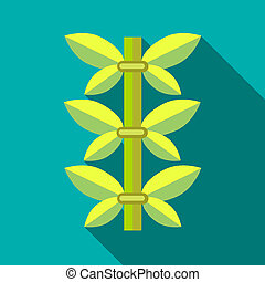 Green bamboo icon, flat style