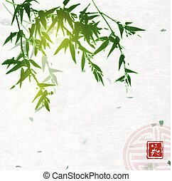 Green bamboo on handmade rice paper background. Traditional oriental ink painting sumi-e, u-sin, go-hua. Contains hieroglyph - beauty and sign of great blessing.