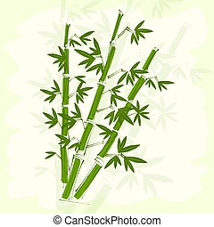 Green bamboo paper background.