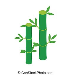 Green bamboo stem icon, isometric 3d style - Green bamboo...