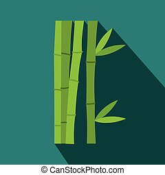 Green bamboo stems icon, flat style