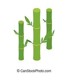 Green bamboo stems icon, isometric 3d style