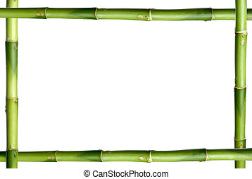 Green bamboo stick frame isolated on the white background