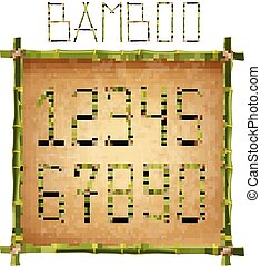 Green bamboo sticks digits inside of poles frame on old paper background.