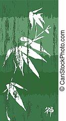 Green bamboo vintage illustration poster