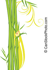 Green bamboo with butterfly