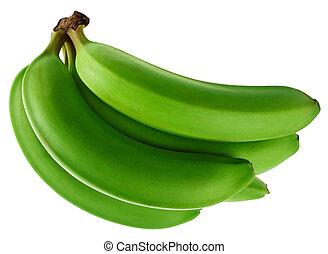 Green banana - Banana fruit bunch isolated on white...