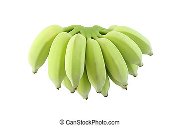 Green banana bunch on white background.