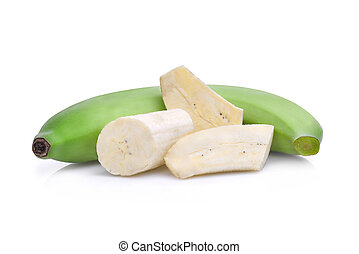 green banana isolated on white background