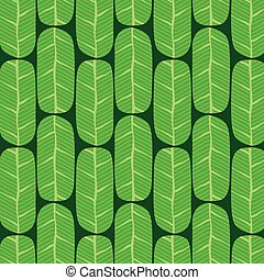 Green Banana Leaves Pattern Vector Illustration