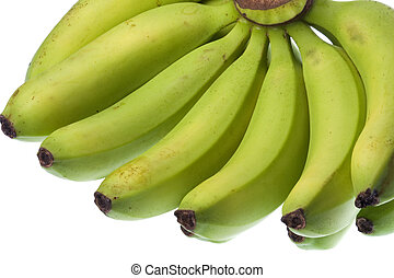 Green Bananas Isolated - Isolated macro image of green...