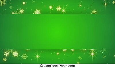 green banner and gold snowfall. Computer generated seamless loop abstract motion background.