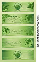 Green banner set for Earth Day. 22 April