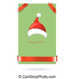 green banner with a red ribbon and Santa Claus hat. text. Vector